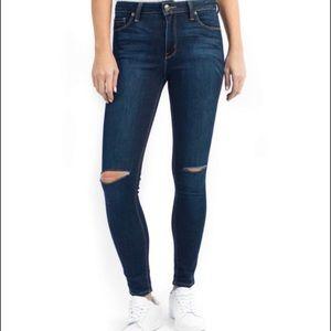 Just Black Denim   Slit Knee High Waist Jeans 28